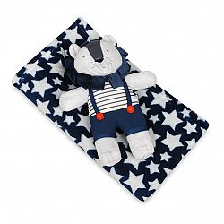 Babymatex Detská deka modrá s hviezdami s plyšákom lev, 85 x 100 cm