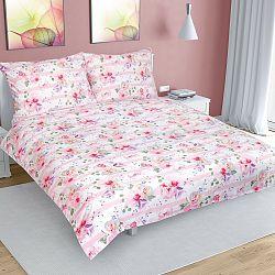 Bellatex Bavlnené obliečky Kvet s pruhom ružová, 220 x 200 cm, 2 ks 70 x 90 cm