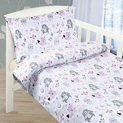 Bellatex Detské bavlnené obliečky do postieľky Zvieratká,  90 x 135 cm, 45 x 60 cm