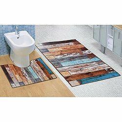 Bellatex Sada kúpeľňových predložiek Drevená podlaha 3D, 60 x 100 cm, 60 x 50 cm