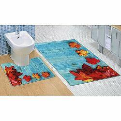 Bellatex Sada kúpeľnových predložiek Javorové listy 3D, 60 x 100 cm, 60 x 50 cm