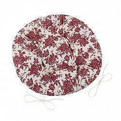 Bellatex Sedák Adela okrúhly prešívaný Kvet bordó, 40 cm