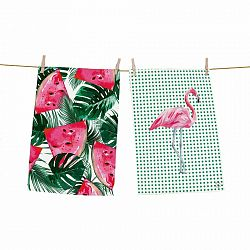 Butter Kings Kuchynská utierka Watermelon flamingo, 70 x 50 cm, sada 2 ks