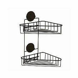 Compactor Dvojitá rohová polička do kúpeľne Bestlock Black, 23,5 x 22 x 36 cm