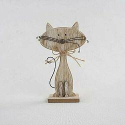 Dekoratívna drevená mačka hnedá, 25 cm
