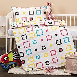 Detské bavlnené obliečky do postieľky Štvorce, 90 x 140 cm, 45 x 65 cm