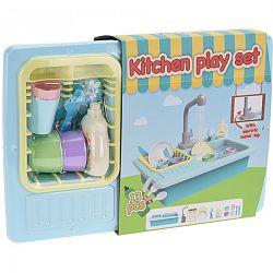 Detský kuchynský set s tečúcou vodou, sada 13 ks, modrá