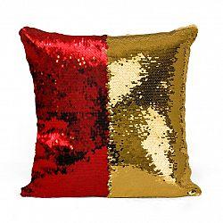 Domarex Vankúšik s flitrami Flippy červená, 40 x 40 cm