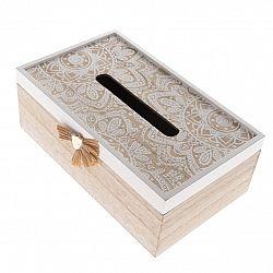 Drevená krabička na vreckovky Mandala, 20 x 11,5 x 9 cm