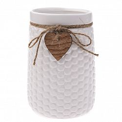 Keramická váza Heart, biela, 12 x 17,5 x 16,5 cm