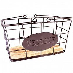 Kovový obdĺžnikový košík Welcome, 30 x 15 x 18 cm