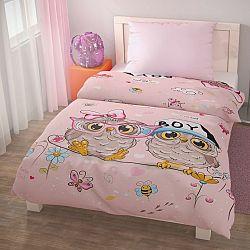 Kvalitex Detské bavlnené obliečky PUHU ružová, 140 x 200 cm, 70 x 90 cm