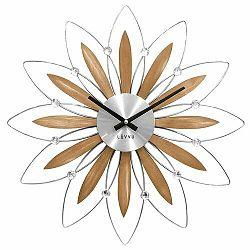 LAVVU LCT1112 - Drevené strieborné hodiny Crystal Flower