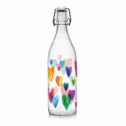 Mäser Sklenená fľaša s Clip uzáverom Love Rainbow, 1 l