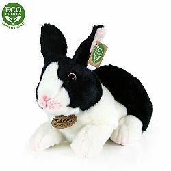Plyšový králik bielo-čierny ležiaci, 24 cm, ECO-FRIENDLY