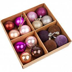 Sada vianočných ozdôb Melide fialová, 16 ks, pr. 4 cm