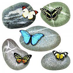 Samolepiaca dekorácia Butterflies on Stones, 30 x 30 cm