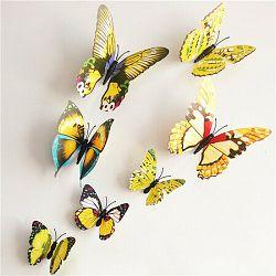 Samolepiace 3D motýle s magnetom žltá, 12 ks