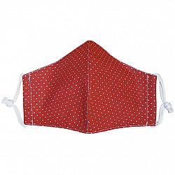 Ústne bavlnené rúško Bodka mini červená - deti 7 - 14 rokov, S (7 - 14 rokov)