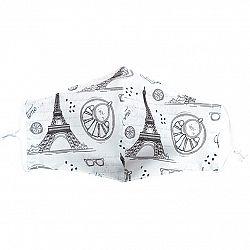 Ústne bavlnené rúško Eiffelova veža - deti 7 - 14 rokov, S (7 - 14 rokov)