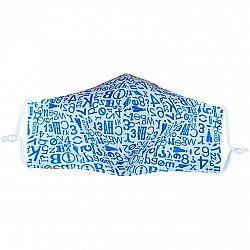 Ústne bavlnené rúško Písmenká modrá - deti 3 - 6 rokov, XS (3 - 6 rokov)