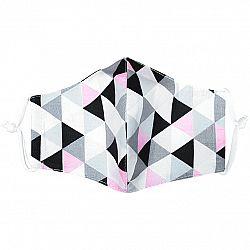Ústne bavlnené rúško Triangle ružovo-sivá, L