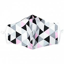 Ústne bavlnené rúško Triangle ružovo-sivá medium, M