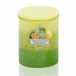 Vonná sviečka Citrus green tea pudding valec, 7 x 9 cm