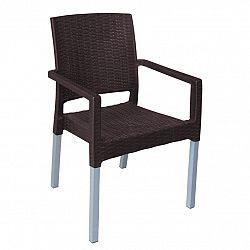 Záhradná stohovateľná stolička Ratan Lux, wenge