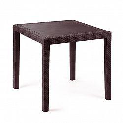 Záhradný stôl Ratan Lux, 73 x 75,5 x 75,5 cm, wenge